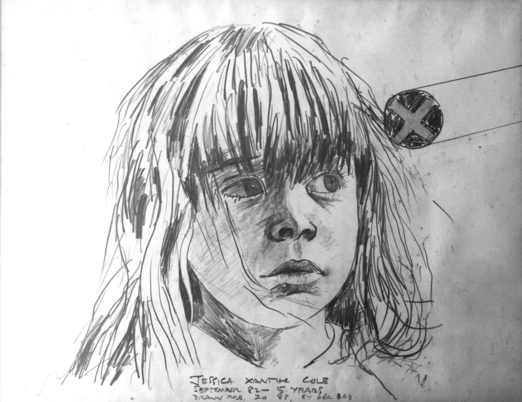 Drawing of the author as a child, artwork by the author's father, 1983